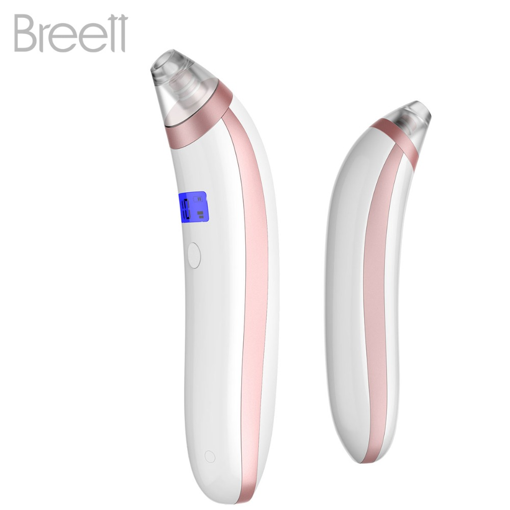 Breett Pore Cleanser Rechargeable Microcrystalline Comedo Remover Strong Suction Blackhead Extractor with Display Screen cucnzn peel off pore cleanser blackhead remover mask