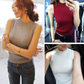 Sexy Knitted Vest Women's Short Sweater Crop Tops Match-all Casual Round Neck Slim Tops Women Jumper Rhombus Pullover Female
