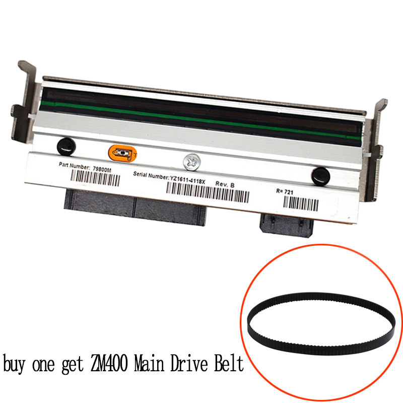 (buy one get Main Drive Belt) print head For zebra ZM400 200dpi Thermal barcode printer printhead PN 79800M Compatible|Printer Parts| |  - title=