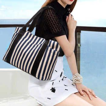 Casual Women Canvas shopping Shoulder Bag Simplicity Female Tote Soft Medium Size Messenger Bag for Teenagers striped beach bag