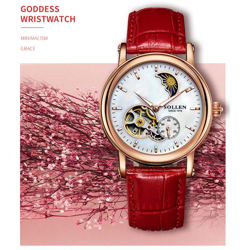 Luxury Brand Automatic Mechanical Watch Women Dress Moon Phase Watch Fashion Rose Gold Sapphire Watches Female