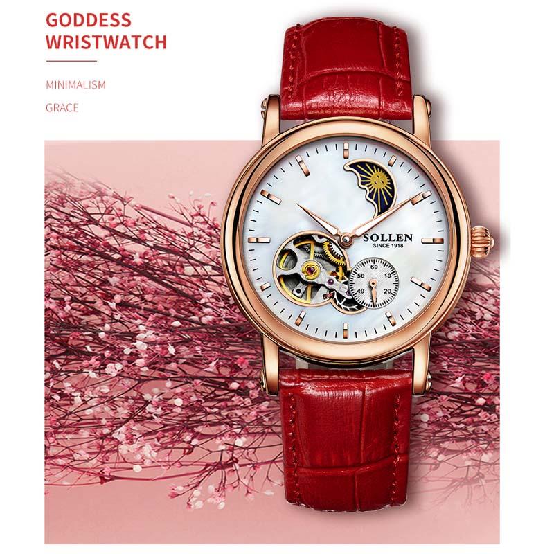 Reloj mecánico automático de marca de lujo para mujer, reloj de fase de luna, relojes de zafiro de oro rosa, Relojes de Cuero para mujer-in Relojes de mujer from Relojes de pulsera    1