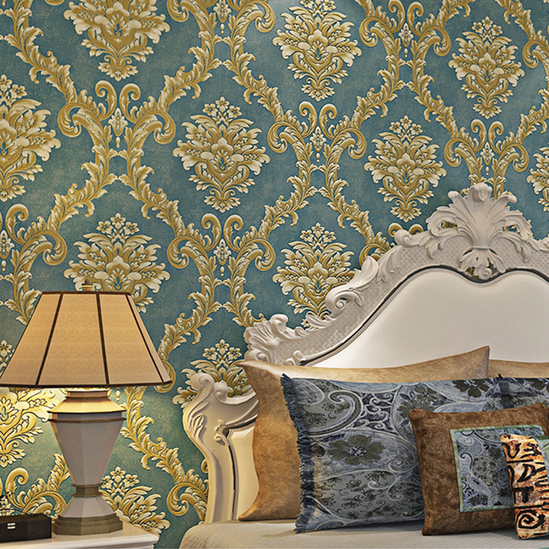 European Style Damask Wall Paper Rolls 3D Embossed Textured Wallpaper Home Decoration Luxury Living Room Bedroom Papel De Parede