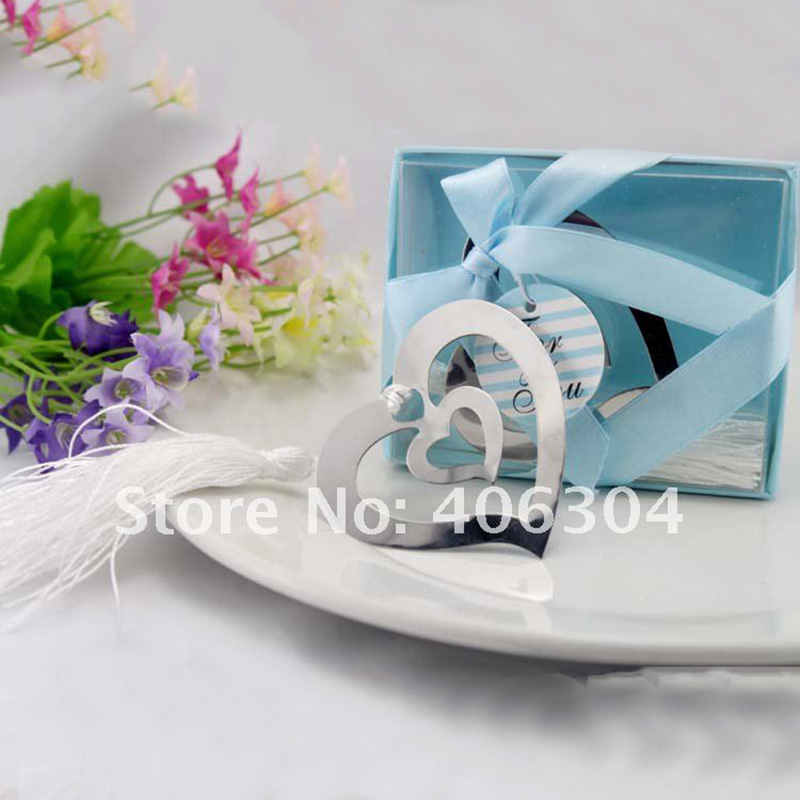 Free shipping by FEDEX!100pcs/lot,Wedding favors,metal Bookmark tassels, two heart shape,birthday gifts,wedding gifts