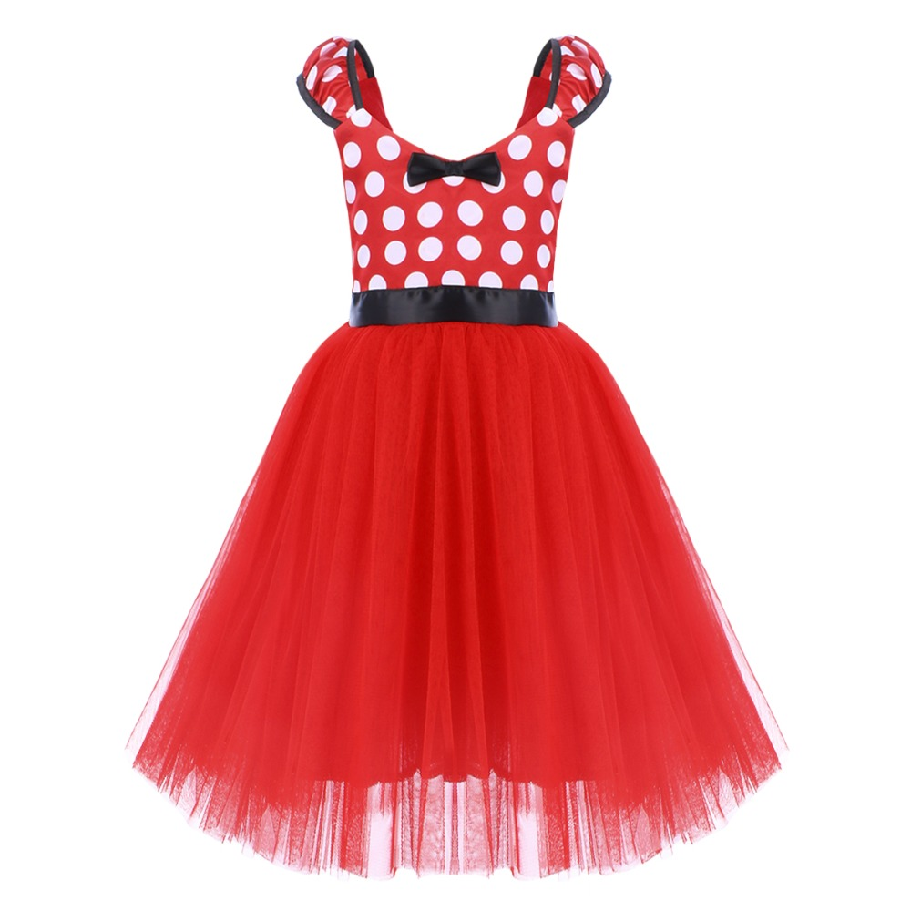 Cute Minnie Dress for Girls Baby Kids Mickey Mouse Cosplay Fancy Up Polka Dot Tulle Girl Birthday