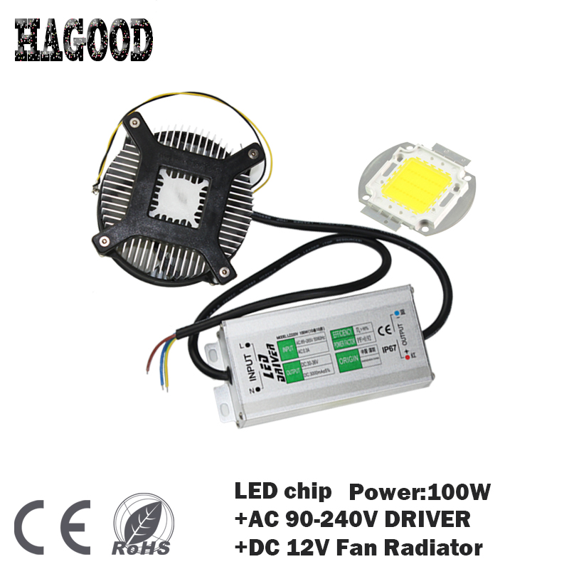 100W High Power LED chip LED Bulb IC SMD Lamp Light  +POWER SUPPLY DRIVER 90-240V INPUT+Radiator for Lamp DIY vitek vt 7150 w