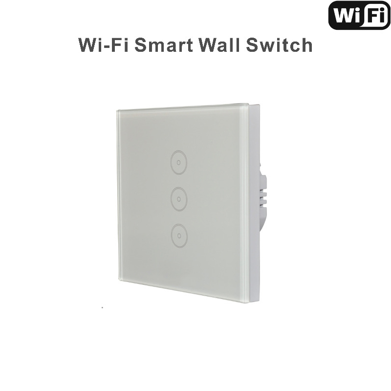Work with Amazon Alexa Wall Switch 110~240V Smart Wi-Fi Switch Glass Panel  3gang EU Touch Light wall Switch manufacturer xenon wall switch 110 240v smart wi fi switch button glass panel 1 gang ivory white eu touch light switch panel