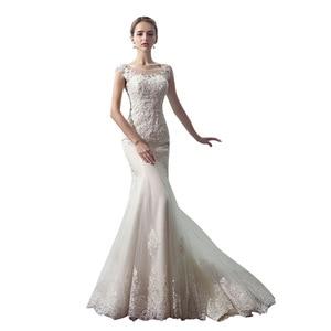 Image 5 - Vestido De Noiva 2020 MRS Win เจ้าสาว O Neck Court รถไฟหรูหราลูกไม้เย็บปักถักร้อย Mermaid เจ้าหญิงแต่งงานชุด F