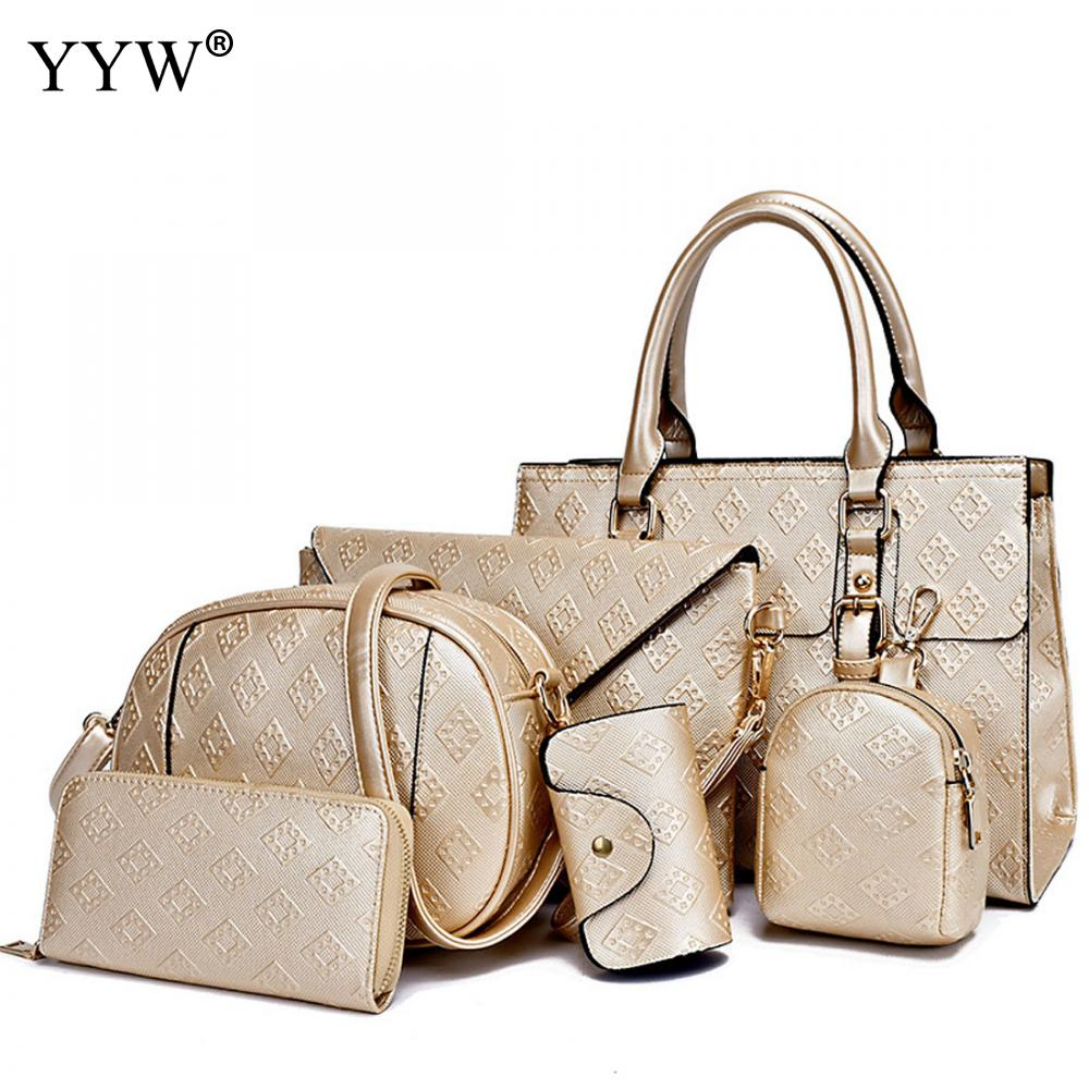 6 PCS/Set Gold PU Leather Handbags Women Bag Set Famous Brands Tote Bag Lady's Shoulder Crossbody Bags Clutch Bag Womens'Pouch