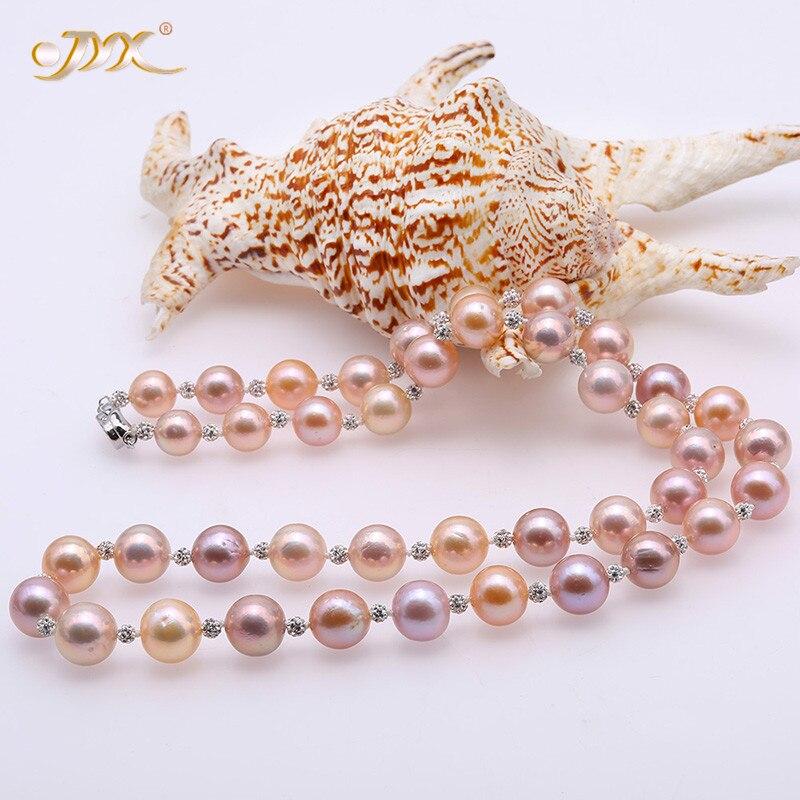 JYX 2019 nouveau collier Edison 11.5-14.5mm multicolore collier de perles Edison avec strass tchèque brillant pour les femmes bijoux de mariée