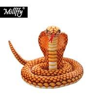 Dropshipping New Arrival Realistic Cobra Lifelike Soft Toy Peluche Stuffed Snake Giant Snake Plush Toy for Kids Children