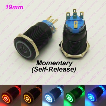 50PCS 19MM Black Metal Switch Glowing Ring+Power Push Button With LED 12V/24V No Locking Momentary Click for Car Dash Flat Head