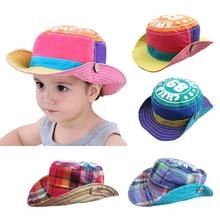 Двусторонняя уличная детская Солнцезащитная шляпа, клетчатая детская пляжная шляпа, летняя ковбойская Панама для мальчиков и девочек
