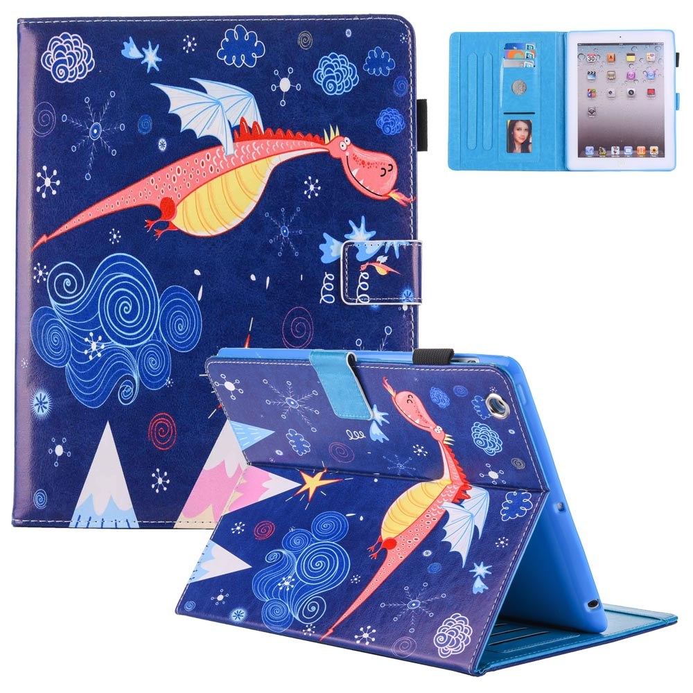 все цены на Tablet Case for iPad 2 3 4 Luxury Cartoon Pattern PU Leather TPU Kid Stand Skin Cover for Apple iPad 4 3 2 Stylus Pen Coque Capa