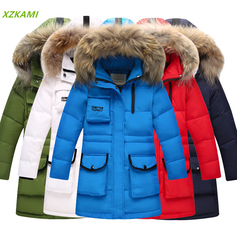 Girls Big Raccoon Fur Collar Hooded Down Parkas Russian Winter Boys Thickened Warm Duck Down Jackets