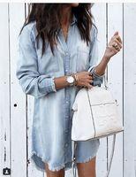 Solid Color Asymmetrical Denim Vintage Shirt Dress Boyfriend Style Summer Woman POLO Collar Long Sleeve Above Knee Dress LD81544