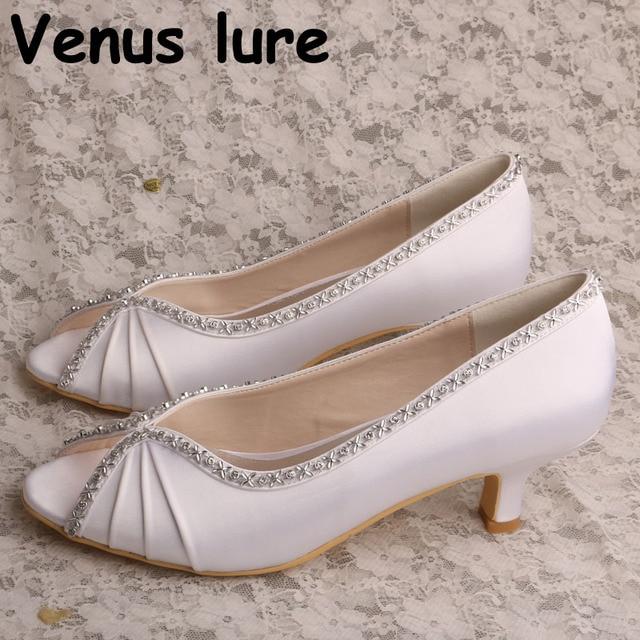 2fe58deeb ... Sapatos de Noiva Salto Cunha Branco Tribunal Casamento Pequeno. Ladies Peep  Toe Shoes For Bride White Wedge Court Wedding Small Heel