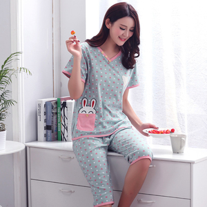 Image 4 - Plus Size XXXL 2020 summer sleepwear women pajamas sets v neck cartoon short sleeve pajama suit cotton women homewear suit soft