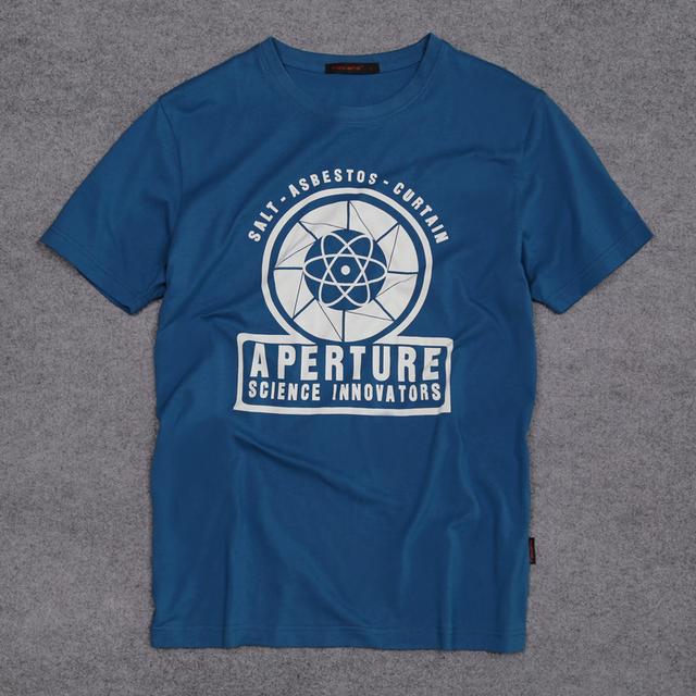 Nova Chegada 2 Portal Aperture Laboratories Logo dos homens T-shirt Camisa Roupas 100% algodão de Manga Curta T-shirt Fã de Jogos de Vídeo