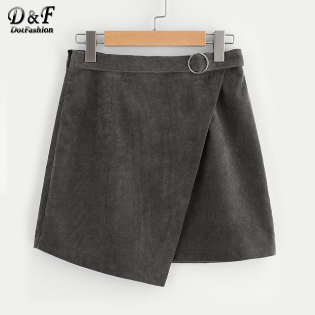 Dotfashion o-ring cinturón detalle cordón envolver falda sólida 2019 otoño gris A línea inferior mujer corta falda asimétrica