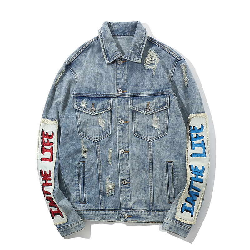 Hi Street Men's Denim Jackets Hip Hop Oversized Patchwork Ripped Jeans Jackets Streetwear Male Fashion Autumn Coat