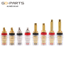 Gold Nickel Plated Brass 5 Way Speaker Binding Post Amplifier Banana Jack Connector Hifi Audio Terminal Long Short Thread