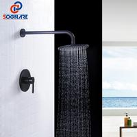SOGNARE Brass Black Bathroom Shower Set Round Shower Faucets Set Rainfall Shower Head Wall Mount Single Handle Shower Mixer Tap