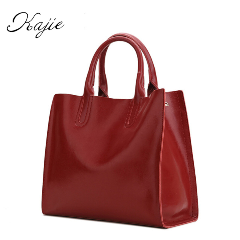Kajie Limited Genuine Cowhide Leather Luxury Handbags Women bag Famous Brands Bags Designer Tote Shoulder High Quality Sac luxury genuine leather bag fashion brand designer women handbag cowhide leather shoulder composite bag casual totes