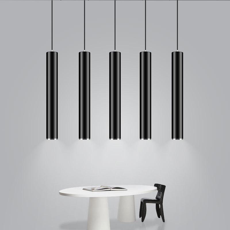 Modern White Kitchen With Island And Pendant Lights: Modern Black White Dia 6CM Cylinder LED Pendant Light