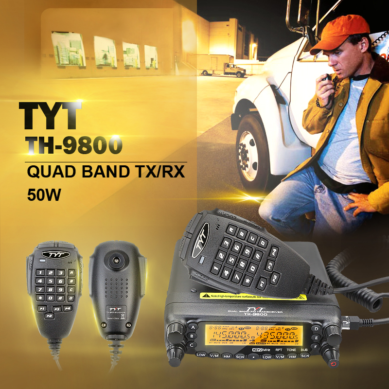 Купить с кэшбэком Factory Authorized TYT TH-9800 Plus Free Shipping 50W Scrambler VHF UHF HF Transceiver with Programming Cable and Software