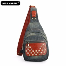 KISS KAREN Fashion Rivet Sling Bags Denim Women Chest Bag Durable Jeans Casual Daypack Women's Purse Shoulder Messenger Bags kiss karen floral lace women messenger bag vintage fashion studded denim bag women s shoulder bags summer jeans crossbody bags