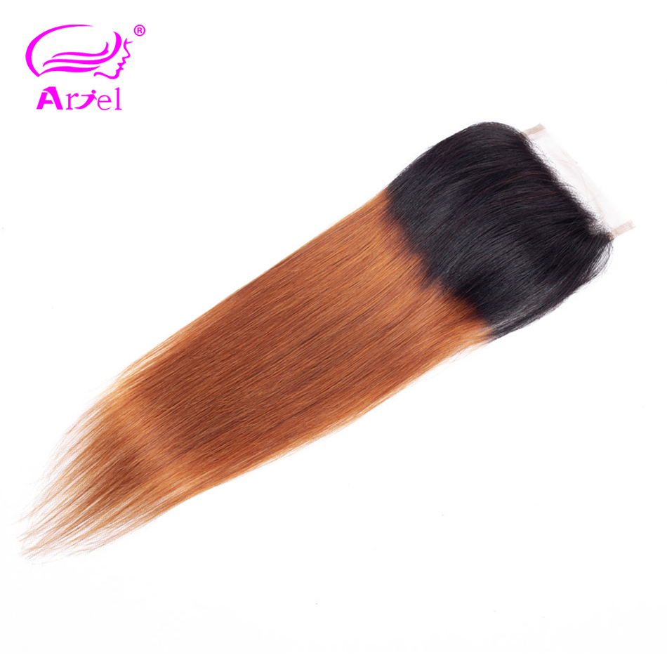 ARIEL Indian Closure Human-Hair Ombre Top Lace Remy-Blonde Swiss Free/Middle-Part Straight