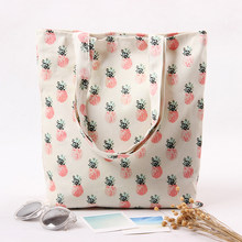 Handmade cotton canvas hand bag simple female environmental protection shoulder bag pineapple print bulk shopping bag hangbags(China)