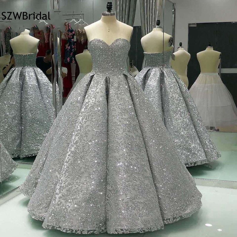 Real photo New Arrival Ball gown Evening dress 2020 Saudi Arabia Evening gown Sequine Lace Formal dress Kaftan Evening partydress kaftanball gown evening dressevening gown -