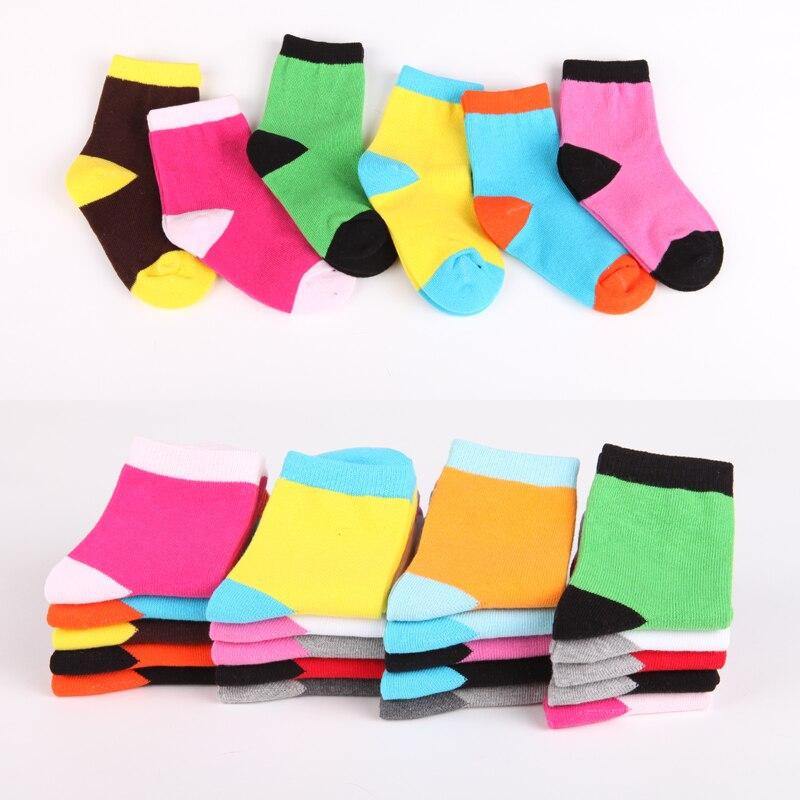 10 Paare/los Kinder Socken Frühling & Herbst Baumwolle Candy Farbe Helle Zauber Farbe Jungen Mädchen Socken 1-9 Jahr Kinder Socken