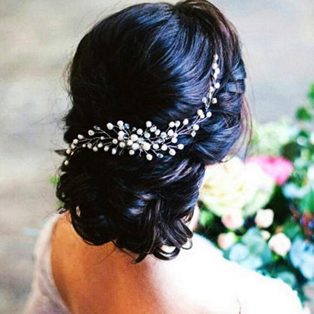 Handmade Bridal Crystal Pearl Hair Comb Rhinestone Piece Women Simulated Diy Jewelry Wedding