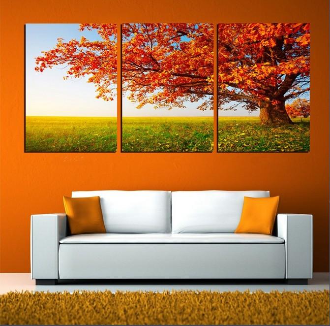unidades envo gratis venta caliente moderno de la pared pintura rbol de naranja home arte