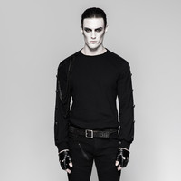 Steampunk Men's Heavy Metal Rock Style Round Neck Long Sleeve T Shirt Black Top