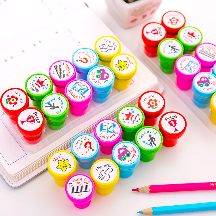 10 Pcs/set English Teacher Reviews Stamps Seal Set For Scrapbooking Student Prize Promotional Stationery