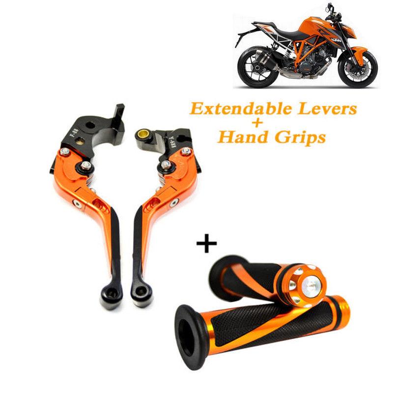 Extendable Brake Clutch Levers & Hand Grips for KTM DUKE RC 125/200/390 Orange orange motorcycle aluminum adjustable foldable lengthening brake clutch levers for ktm rc 390 2014 2015 2016 2017 free shipping