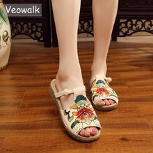 Veowalk Floral Embroidered Women Canvas Slides Comfortable Peep Toe Slippers Retro Style Elegant Ladies Summer Shoes