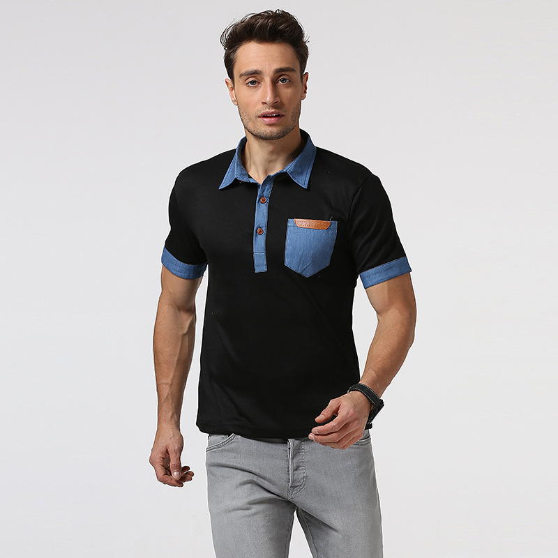 New man pocket spell leather cowboy splicing collar short sleeve   polo   shirts leisure tight men's clothes