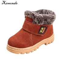 New Children Boots Boys Girls Winter Snow Boots Plush Lined Cow Leather Waterproof Baby Shoes Kids