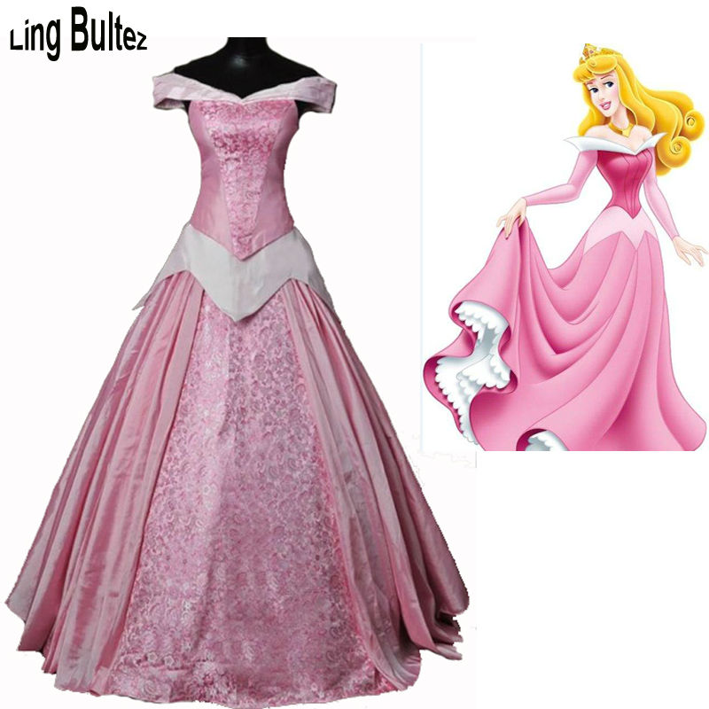 Princess Aurora Adult Costume Sleeping Beauty Pink Dress Sequins Gown Cosplay