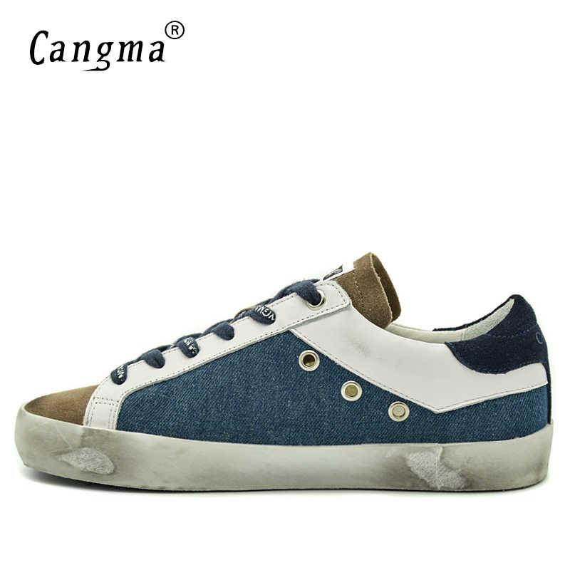CANGMA ที่มีชื่อเสียงยี่ห้อรองเท้าผ้าใบผู้ชายรองเท้าฤดูใบไม้ผลิฤดูใบไม้ร่วงฤดูใบไม้ร่วง Handmade สีฟ้าสีน้ำตาล Basse รองเท้าผ้าใบรองเท้าหนังใหญ่ขนาด Scarpa Uomo