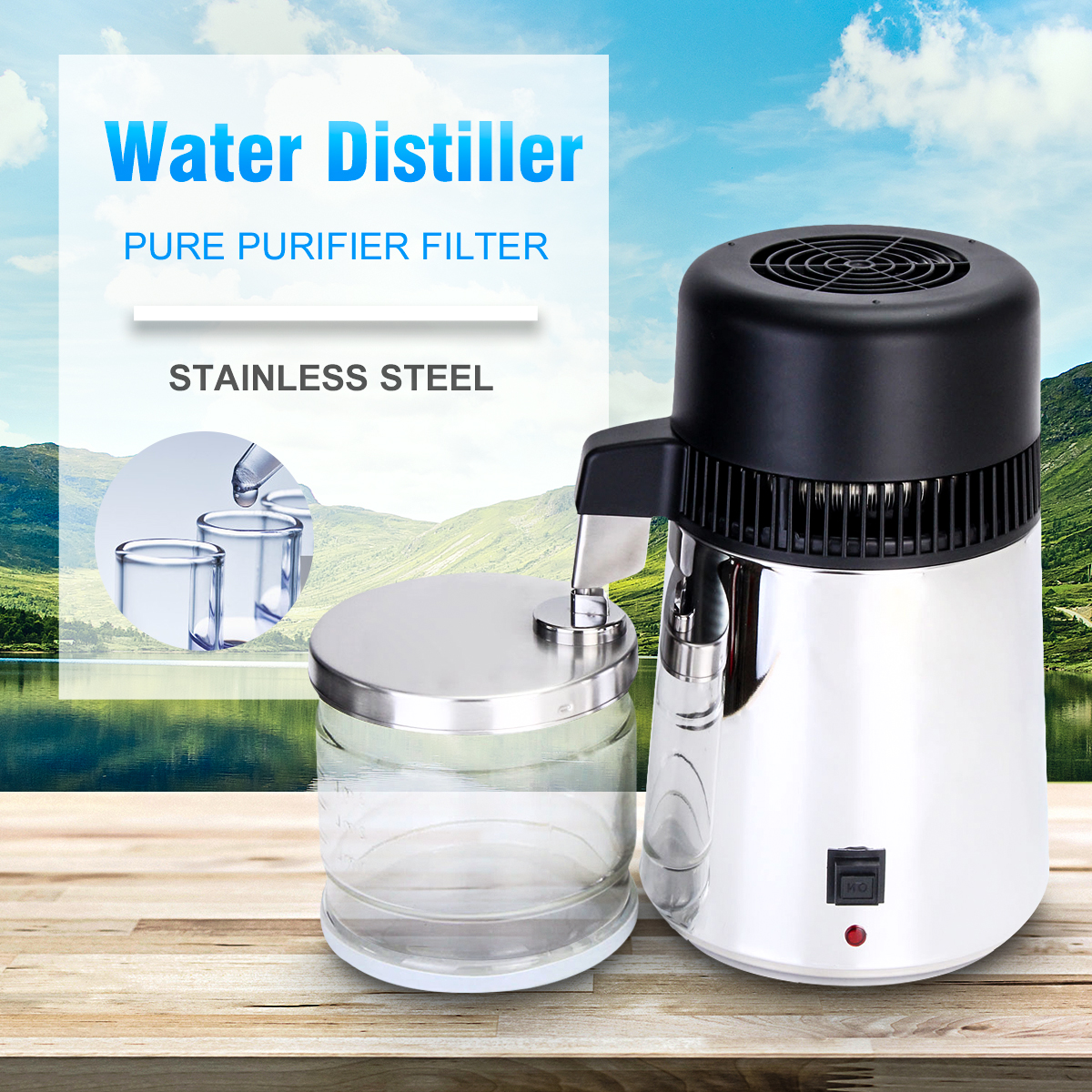 750W 4L Capacity Pure Water Distiller Purifier 304 Stainless Steel Container Filter Distilled Water Device 220V