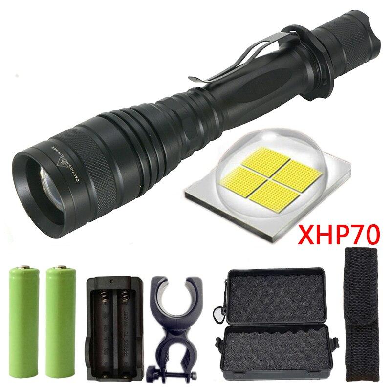 Z90P75 Originale CREE XLamp XHP70 32 w 3200lm potente Tattica HA CONDOTTO LA torcia della torcia elettrica zoom lens 2x18650 batteria Lanterna