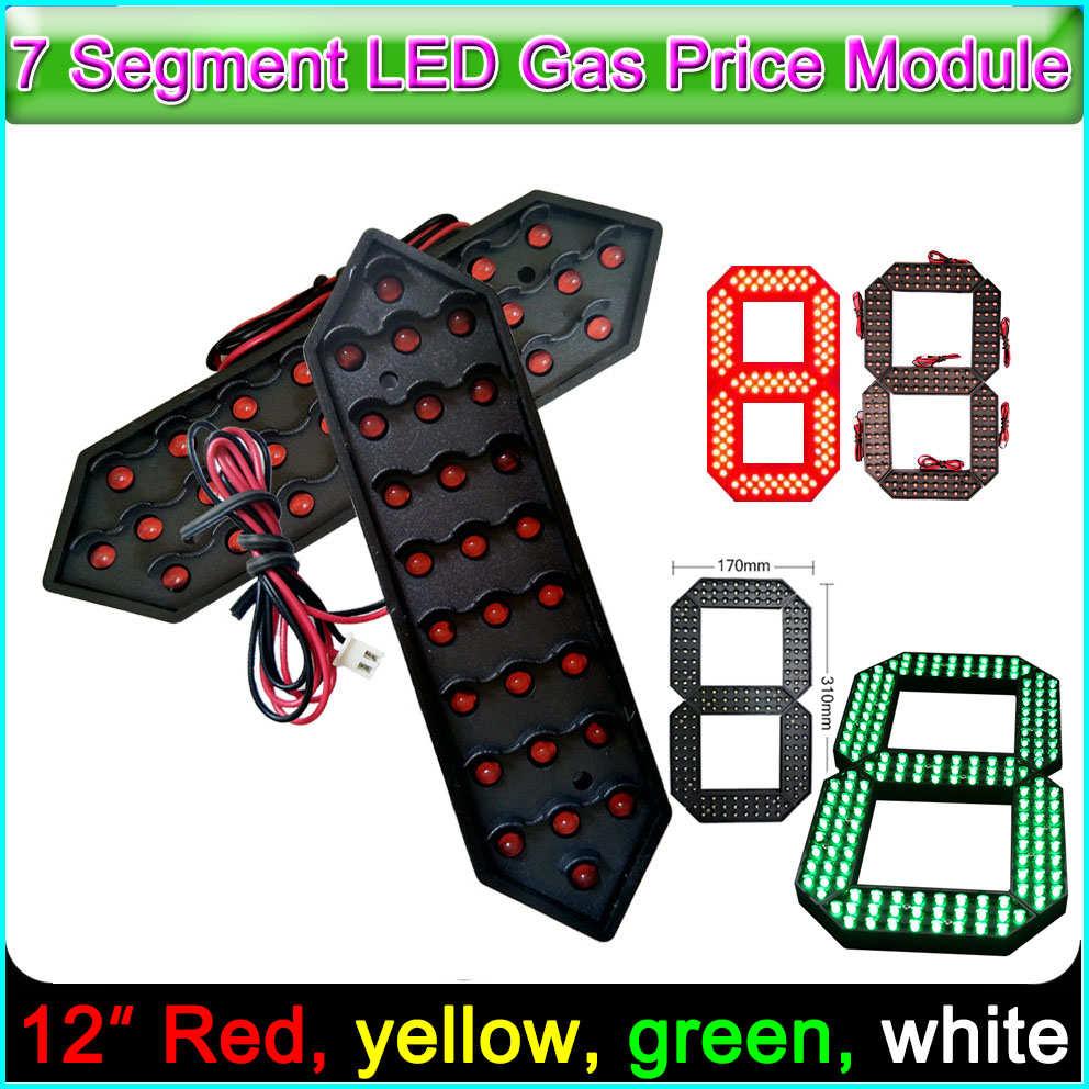 """12 """"Красный цвет цифровой модуль светодиодный дисплей вывески рекламная доска 7 сегментные модули, опционально желтый, зеленый, белый цвет"""