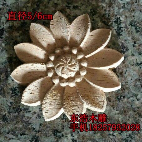 Massief houten ronde cirkel bloem applique deur meubels applique mode cirkel bloem houtkrullen dongyang houtsnijwerk