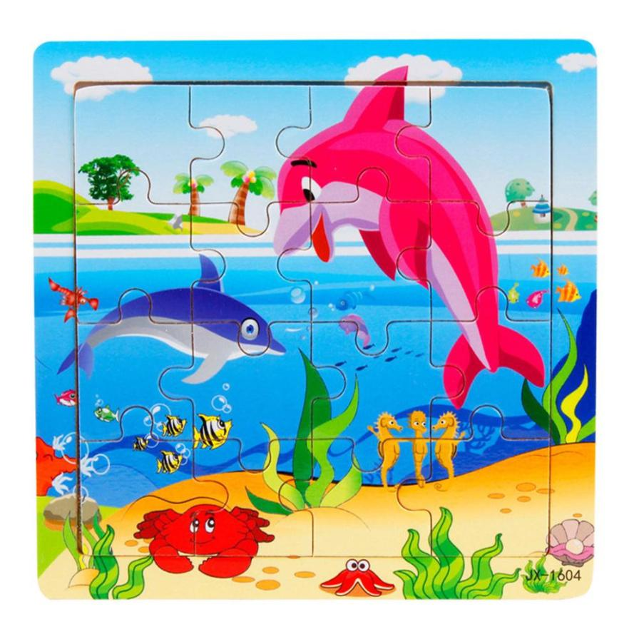 Baby Toys 4*4 Aquatic creatures Wooden Jigsaw Inspired intelligence Outdoor Toy Rompecabezas Infantil